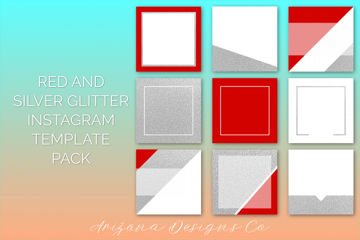 Red and Silver Glitter Instagram Template Pack