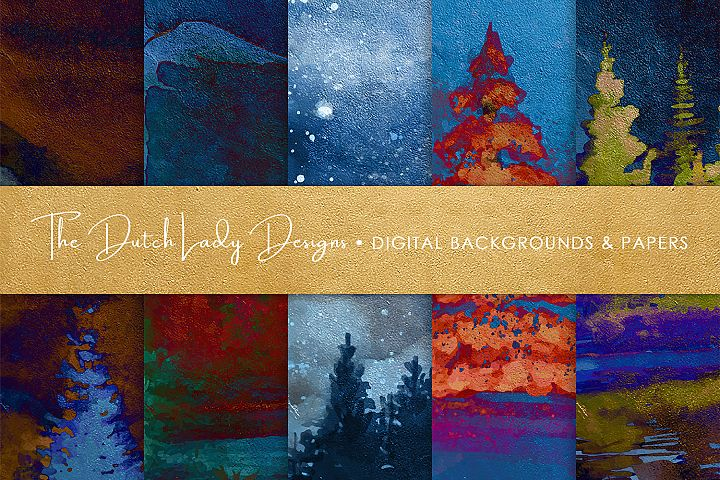 Winter Night Forest Artwork Papers