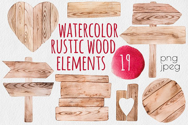 Rustic wood watercolor elements set