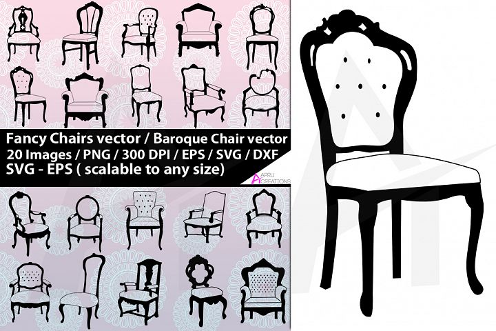 Fancy chairs svg silhouette / fancy chair vector / baroque
