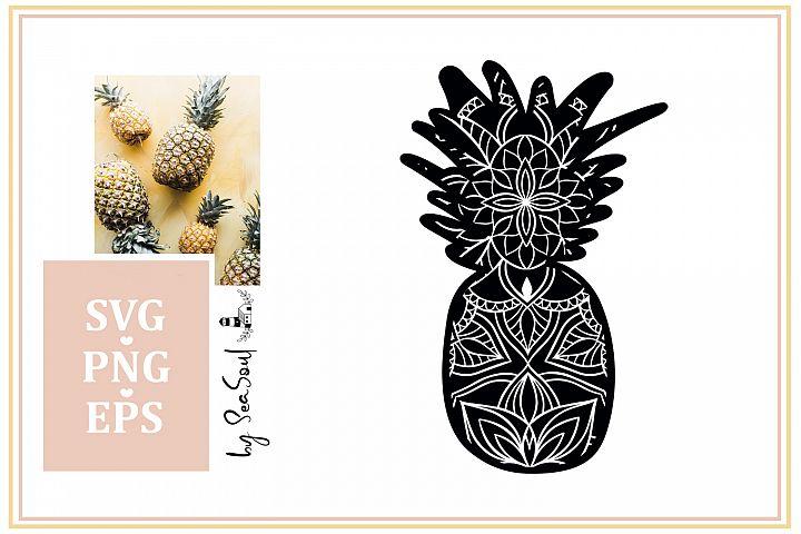 Pineapple Mandala Design SVG, PNG, EPS