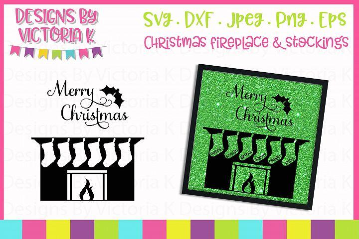 Christmas Fireplace, 6 Stockings SVG Cut File