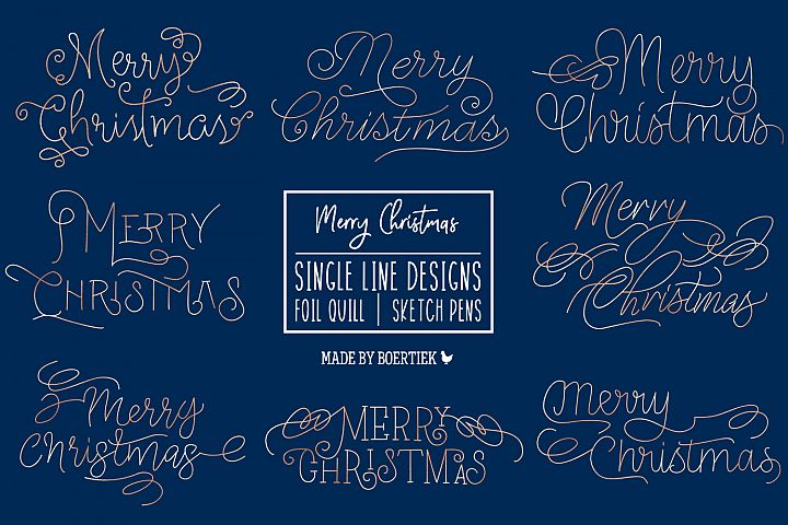 Merry Christmas | Single line designs | Foil Quil and Sketch