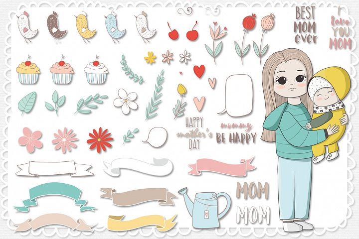 I love mom. Vector illustrations example 3