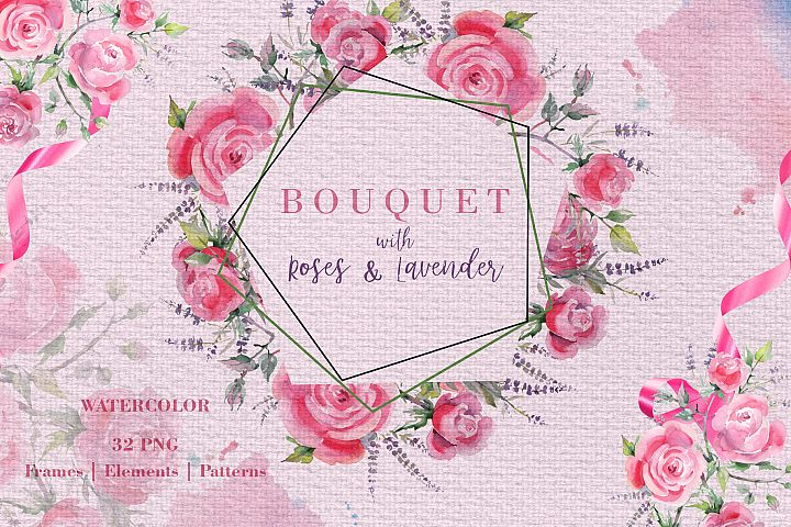 Bouquet with roses and lavender Watercolor png