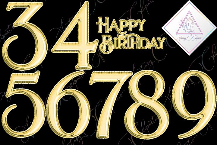 Gold Foil Balloon Numbers Clipart