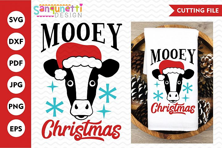 Mooey Christmas cow svg, Farm holiday cut file