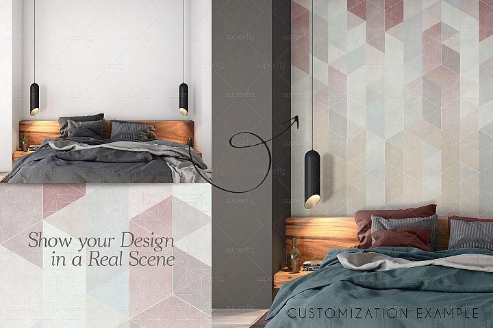 Blank Wall PSD Mockup Bedroom Scene SM83