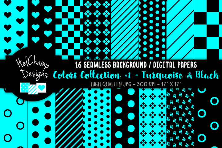 16 seamless Digital Papers - Turquoise and Black - HC061