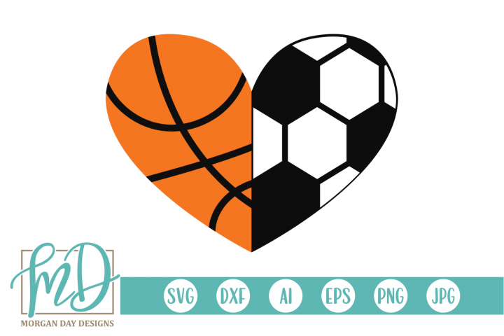 Basketball Soccer Heart SVG, DXF, AI, EPS, PNG, JPEG