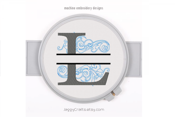 Embroidery Fonts Split Monogram, Monogram L, 4X4 5X7 6x10