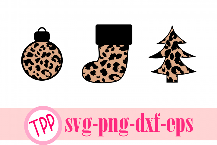 Leopard print Christmas cut files Ornament, stocking, tree