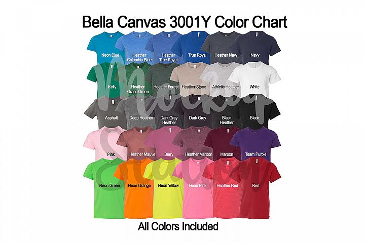 Bella Canvas 3001Y T-shirt Color Chart, Digital Color Swatch