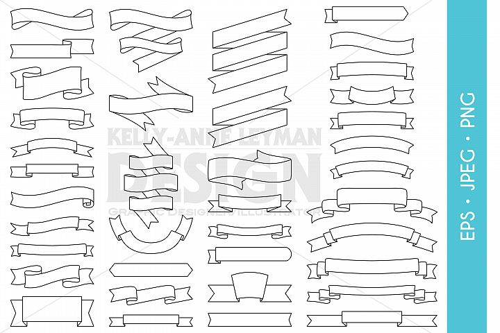 Digital Ribbons Clipart, Digital Labels, Digital Banners