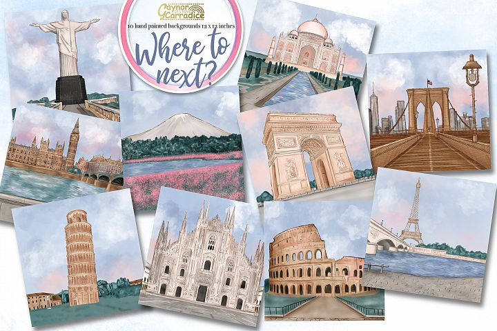 Travel watercolor background / scenes collection