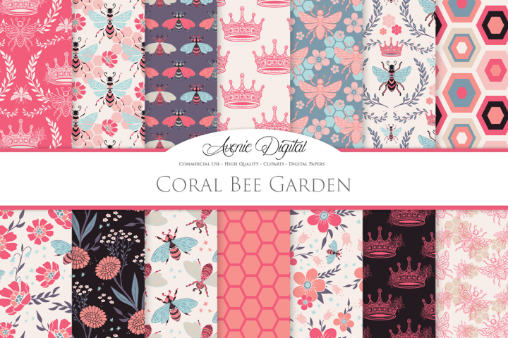 Coral Bee Garden Seamless Vector Patterns and Digital Paper
