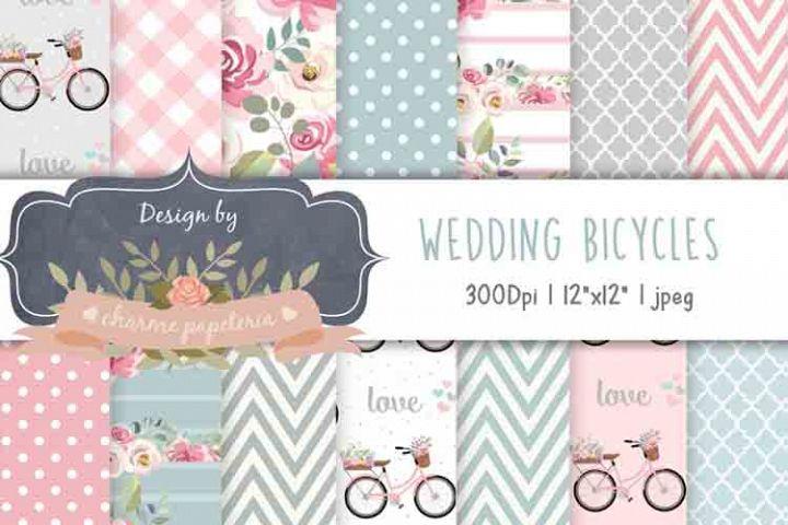 Wedding Bicycles Digital Paper, Bike, Bicycles background