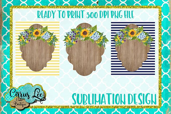 Sunflower Monogram Frame Set