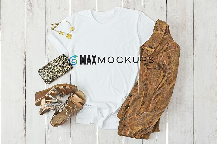 T-shirt mockup, golds browns, flatlay stock photography