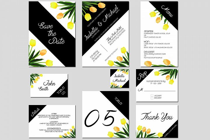 Asymmetric Tulips Wedding Invitation Kit