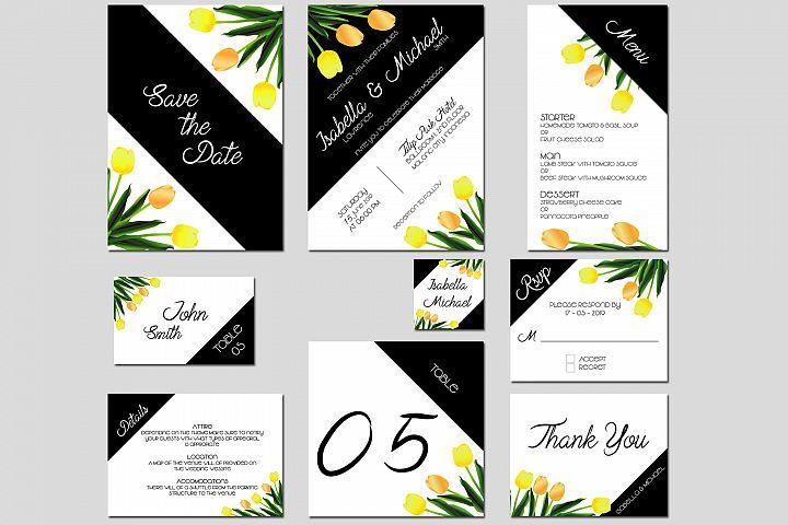 Asymmetric Tulips Wedding Invitation Kit