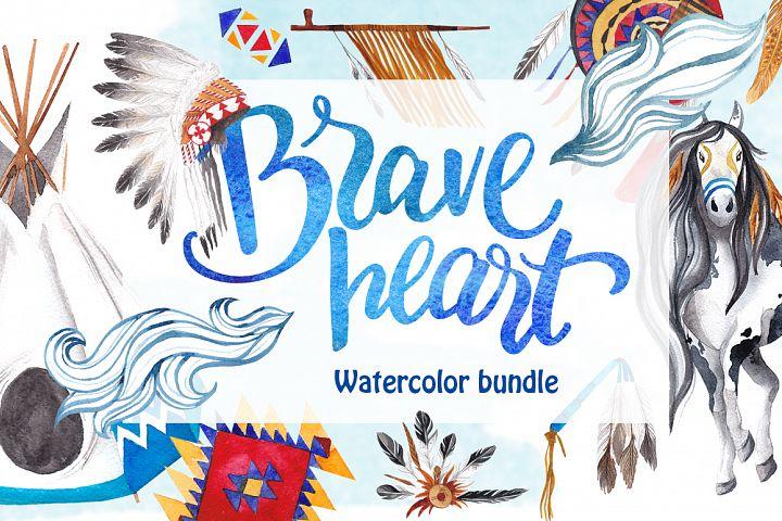 Brave heart - watercolor bundle