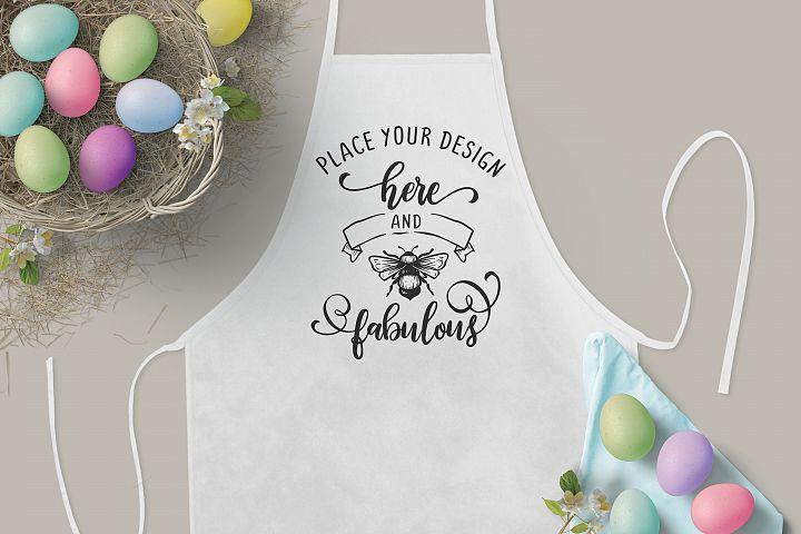 3x2 Easter Mockup, Kids White Kitchen Apron