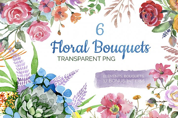 Bouquet of flowers Bright dreams watercolor png