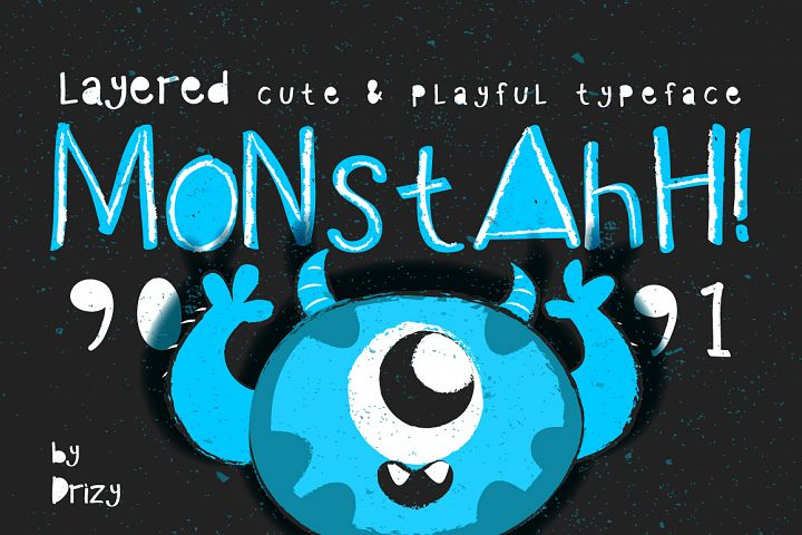 Monstahh Layered Typeface - Free Font of The Week Font