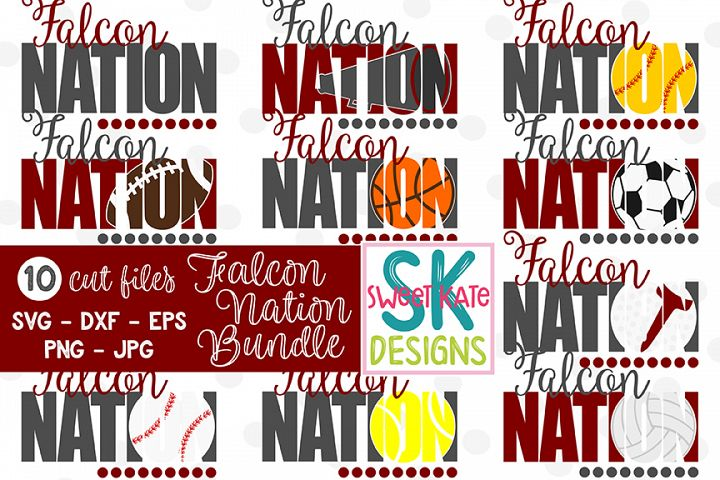 Falcon Nation Bundle - 10 - SVG DXF EPS PNG JPG