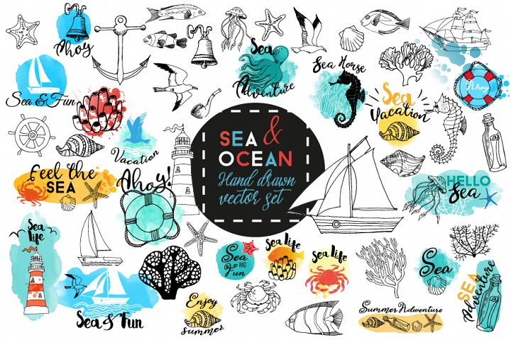 Sea & Ocean.Vector hand drawn set