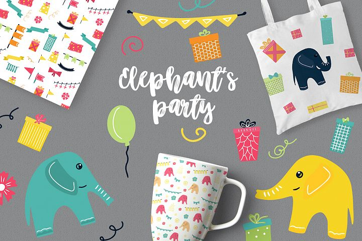 Elephants party vector clipaty Birthday clipart
