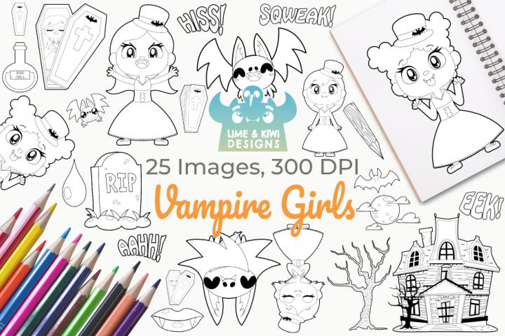 Vampire Girls Digital Stamps