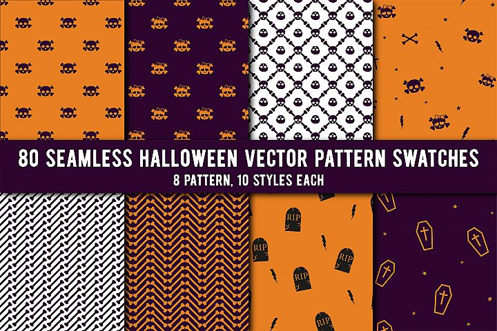 80 Halloween Seamless Vector Pattern Swatches