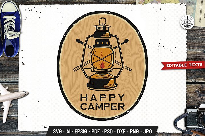 Happy Camper Logo Adventure Retro Print Camp Shirt SVG File
