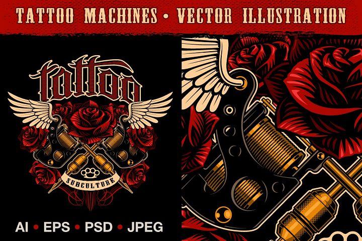 Tattoo machine vector.