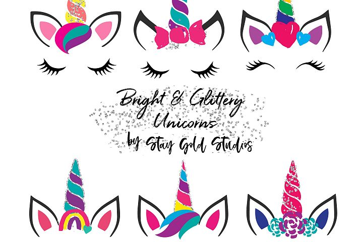 Bright & Glittery Unicorn Faces Clipart
