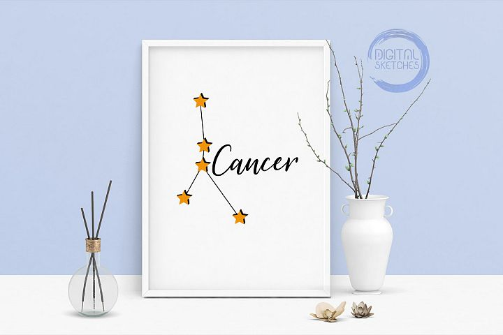 Zodiac Cancer Vector Graphic, Constellation SVG, Astrology