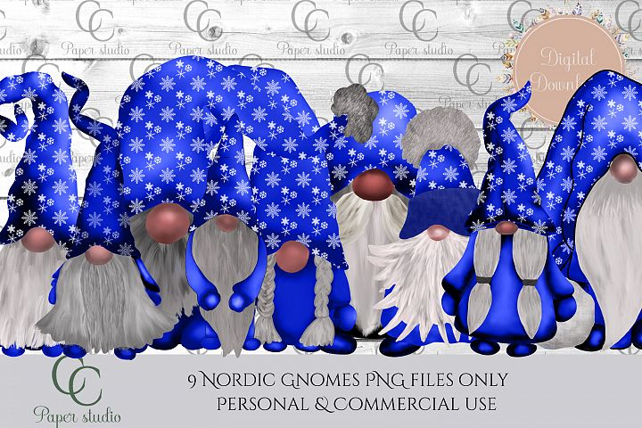 Scandinavian Tomte Gnomes - Christmas snowflake blue