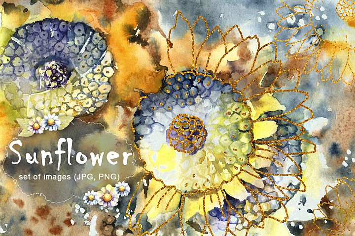 Sunflower. Watercolor illustration. A set of elements.