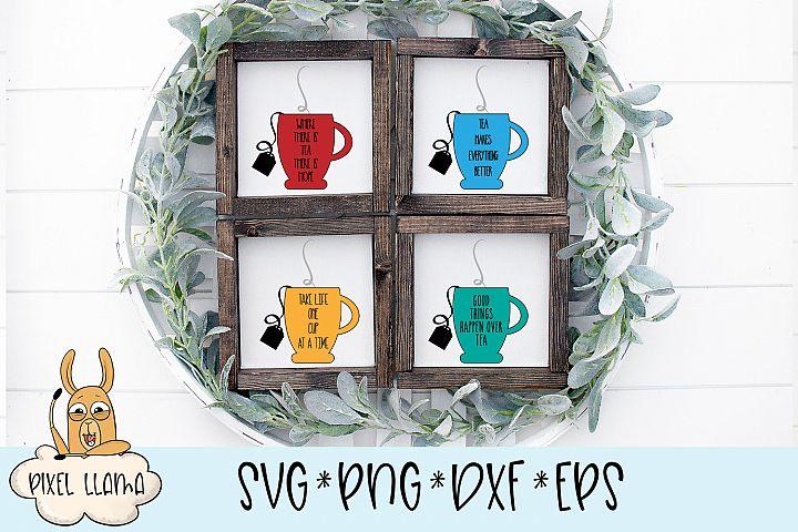 Tea Cup Sign Bundle of 4 Files SVG Cut Files