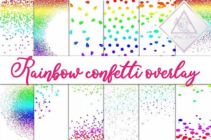 Rainbow Confetti Overlay Clipart