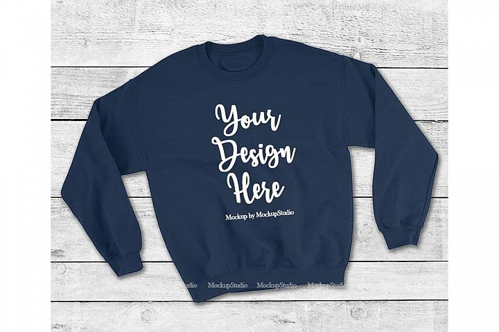 Navy Sweatshirt Mock Up, Unisex Sweatshirt Flat Lay Displa
