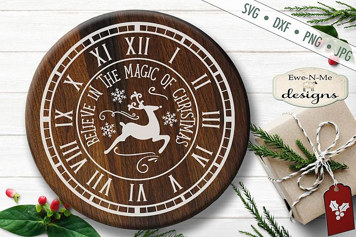 Clock Face SVG - Christmas Clock - Reindeer - SVG DXF Files