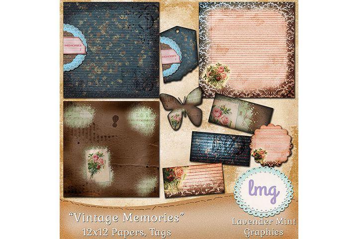 Vintage Memories Digital Scrapbook Papers and Tags