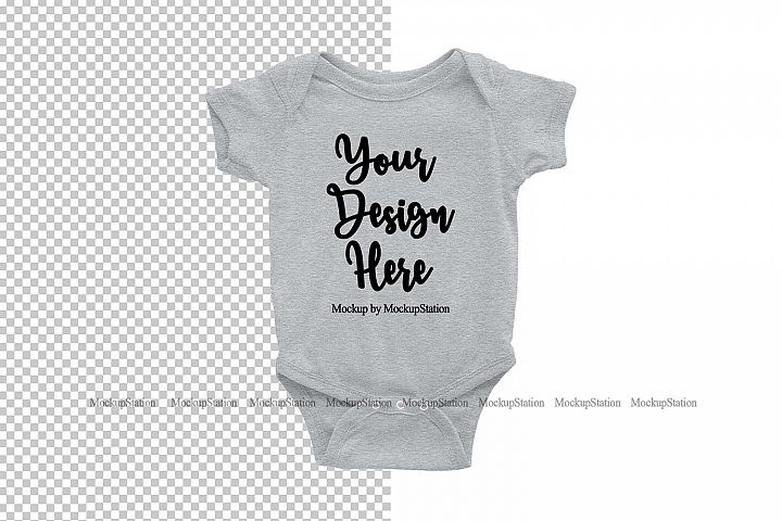 Gray Baby Bodysuit Mockup, White Transparent PNG Background