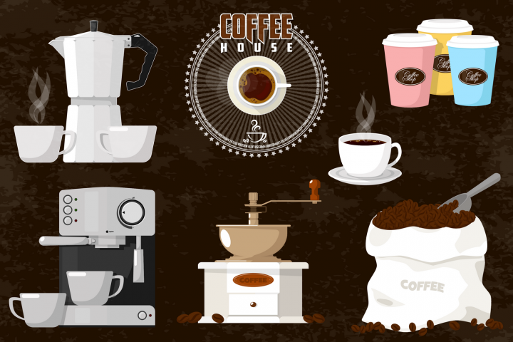 Coffee house emblem and items illustration.