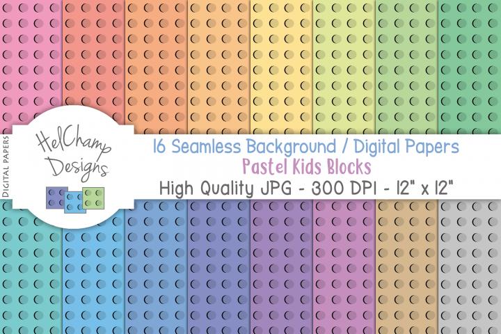 16 seamless Digital Papers Pastel Kids Blocks - HC013