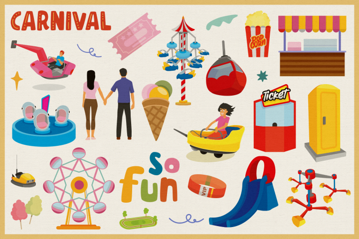 Amusement Park Vector Clipart and Seamless Pattern example image 2