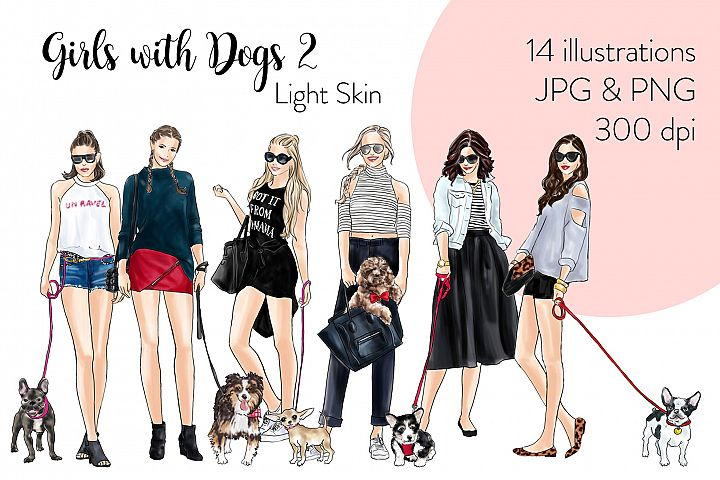 Fashion illustration clipart - Girls with Dogs 2- Light Skin